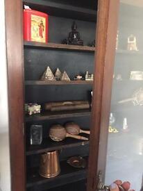 Hardwood wall collectors display cabinet