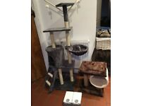 Cat Climbing Tree and scratch post, cat seat and weekend feeder