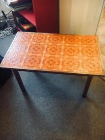 Coffee table 1960s tile handmade wood. Medium sized