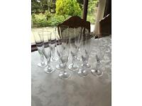 """The Snowdove Crystal Champagne Glasses"" By Igor Carl Faberge - Set Of 12 (NEW)"