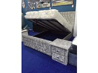 Crushed Velvet Ottoman Bed..Gas Lift Storage Bed In Multiple fabrics Double King Mattress