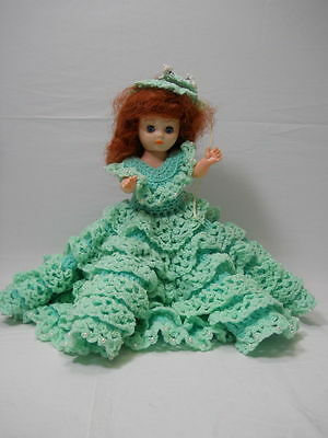 Vintage 13 Inch Southern Belle Plastic Girl Doll with Crochet Outfit - Southern Belle Outfit