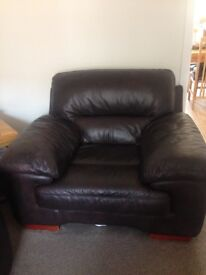 18 month old immaculate brown leather sofa, chair and foot stool