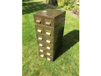 Vintage Metal 12 Drawer Filing Cabinet
