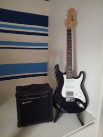 Electric Guitar, Stand and Amp