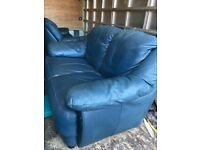 3 and 2 seater blue leather sofas