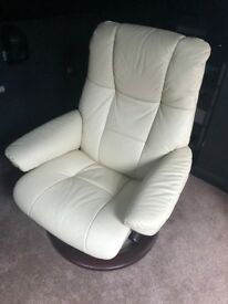 stressless recliner chair in white with brown stain wood