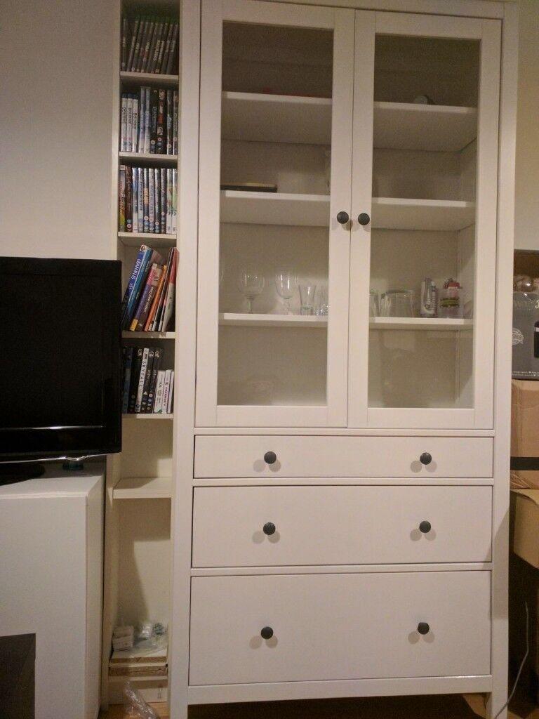 Ikea Hemnes Glass Door Cabinet With 3 Drawers In Southampton