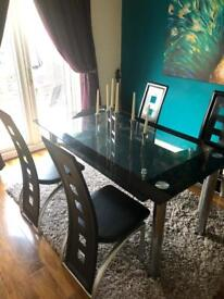 Glass table and chairs 6x3