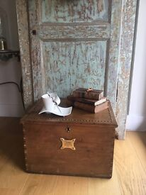 Antique pine storage/toy box/coffee table