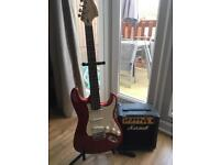 Fender electric guitar and amp - Red Cherry Stratocaster Squire