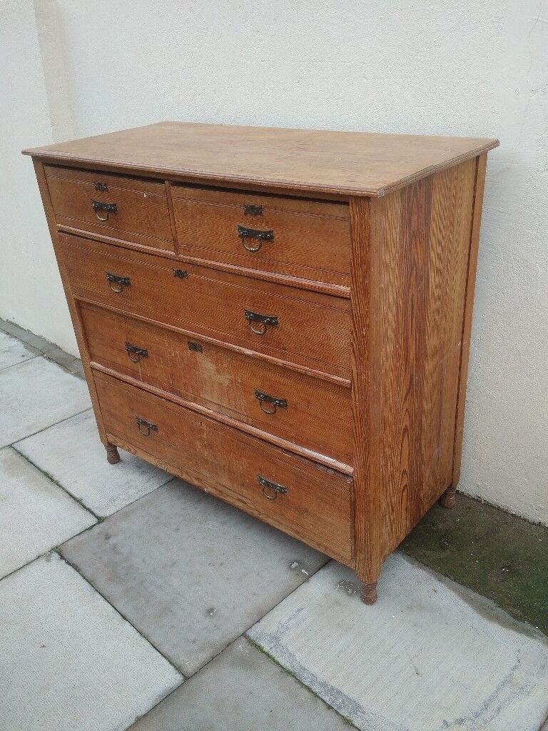 london solid oak 5. Solid Wood Antique 5 Drawer Chest Of Drawers. Can Deliver Free London Oak E