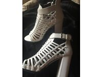 White Strapped Heels - Size 5