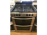 BELLING 60CM DUAL FUEL COOKER IN SHINY SILIVER