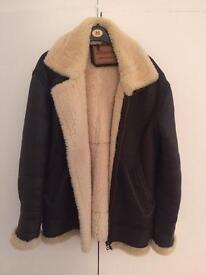 Leather sheepskin aviator jacket