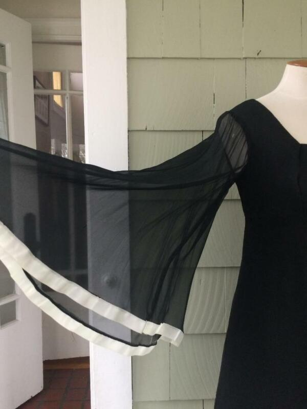 Vtg 60s 70s black sheer angel sleeve mini dress - xs/ small