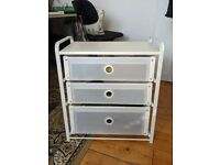 Used Plastic/Metal 3-Drawered White Cabinet For Sale