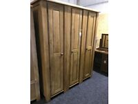 New exDisplay triple wardrobe-3 part,rail, shelves-SOLID OAK
