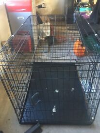 """42"""" Folding training Crate with metal tray XL"""