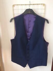Ted Baker Endurance lined navy 3 piece suit 42 jacket and waistcoat, 36short trousers