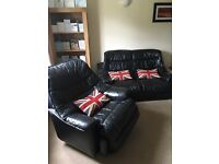 Leather Two Seater Sofa Recliner chair and Square Black Leather Bean Bag