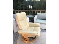 Modern Cream Leather recliner chair with stool