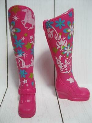Barbie Doll Tall PInk Horse Pony Print Equestrian Dream Stable Back Slit Boots