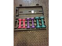 Hand weight set and case