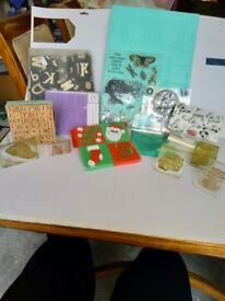 Craft stamps, embossing powder, ink pads