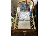 Crib with 2 mattress & cot bed toy