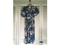 Worn once. Gorgeous blue floral ASOS wrap around maternity dress, size 8.