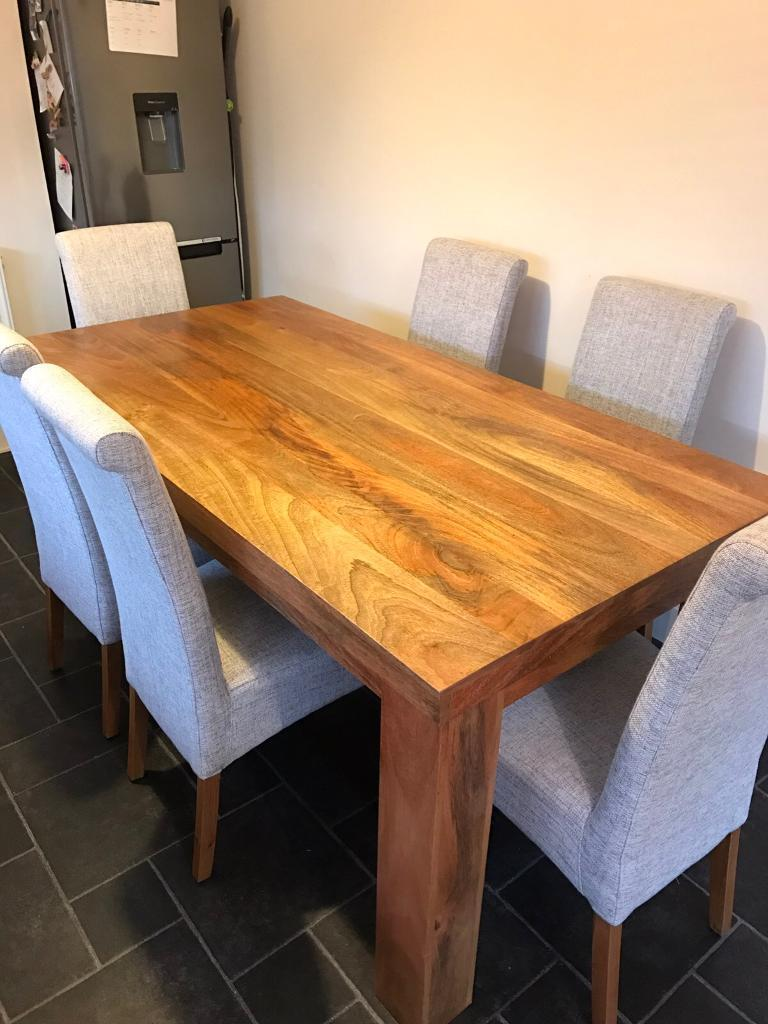 OAK FURNITURE LAND MANTIS LIGHT NATURAL SOLID MANGO 6ft X 3ft DINING TABLE