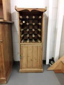 Gorgeous Stripped Pine Bottle Rack With Storage