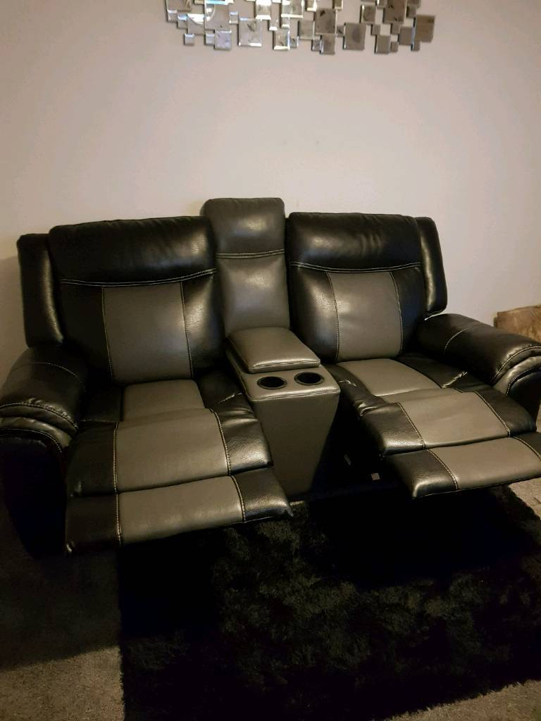 Nearly New Scs Leather Reclining 2 Seat Sofa With 2 Drinks