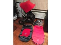 Bugaboo Cameleon Black & Red. Good Condition + Raincover, Cosey Toes