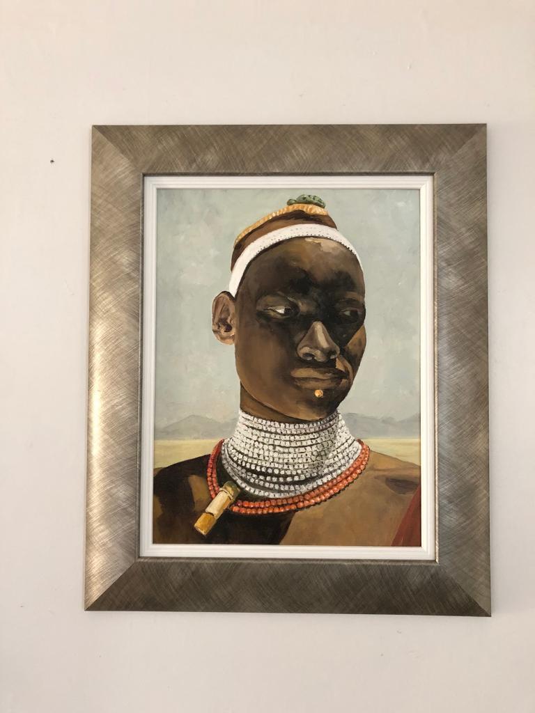 Lennox Manton, oil on board, portrait of a Tribal figure