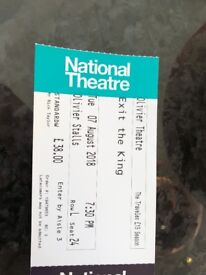 3 tickets for Exit the King -Tues 7 Aug. Stalls Row L £100