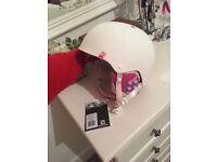 White & Pink Ski Helmet