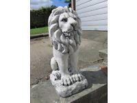 PAIR OF STONE CONCRETE LION STATUES