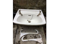 Bathroom Sink full size in clean condition. Twyfords Sink with cast iron brackets.