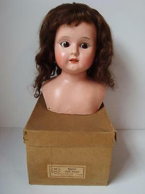 "Antique German Minvera Tin Metal Wigged 12"" Doll Head Mint w/Box Glass Eyes"