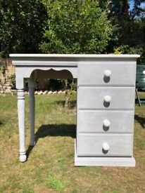 Quality Solid Pine Grey & White Painted Dressing Table / Writing Desk