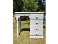 Solid Pine Quality Chicago Grey & White Painted Dressing Table / Desk - Shabby Chic