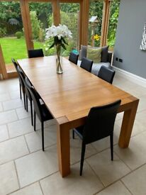 Oak dining table with leather chairs (Heals)