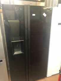 BLACK LESUIRE AMERICAN STYLE FRIDGE FREEZER