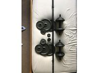 solid cast iron weights, dumbbell and barbell