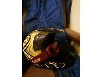 Childs motorbike helmet&full suit&gogles.7to12y