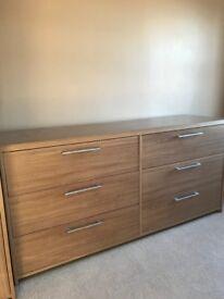 B&Q Walnut finish bedroom furniture: Wardrobe, six drawer unit and bedside cabinet - good condition