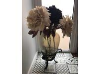 LARGE VASE WITH METAL STAND AND ARTIFICIAL FLOWERS