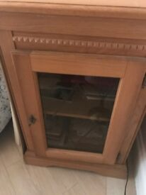 SOLID WOOD DVD/BOOK GLASS FRONT CABINET